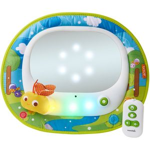 Bring the magic of fireflies to your travels and keep your little one happy with the Brica® Firefly™ Baby In-Sight® Mirror.                 Choose the entertaining mode and your baby is introduced to patterns of light dancing behind the mirror in time to the lively songs.                 Long day and a tired baby? Switch to soothing mode and let your child drift to sleep as relaxing music plays and the lights softly twinkle and fade in and out.                 Crash-tested and simple to install, this magical mirror provides entertainment for baby and peace of mind for you no matter where your day takes you.