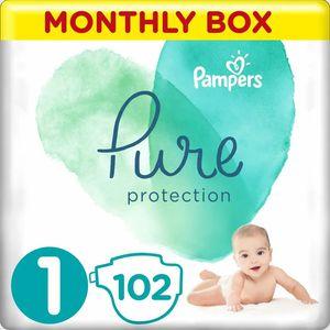 Pampers Pure protection Pelene, mjesečna zaliha pelena.   Veličina 1 (2-5 Kg) = ukupno 102 Pelena