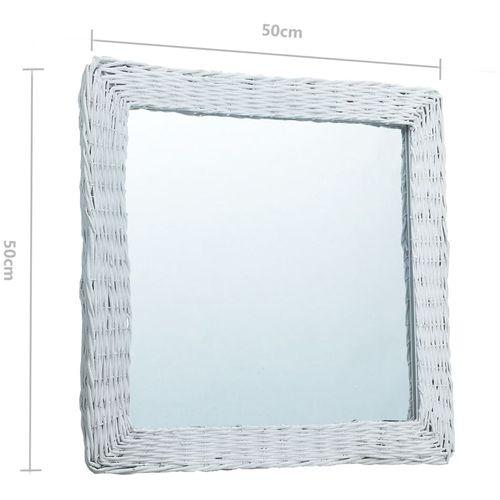 Ogledalo od pruća 50 x 50 cm bijelo slika 8