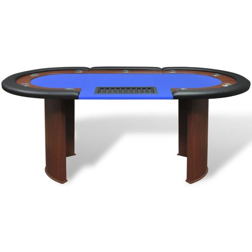 Stol za Poker za 10 Igrača s Prostorom za Djelitelja i Držačem Žetona Plavi  slika 35