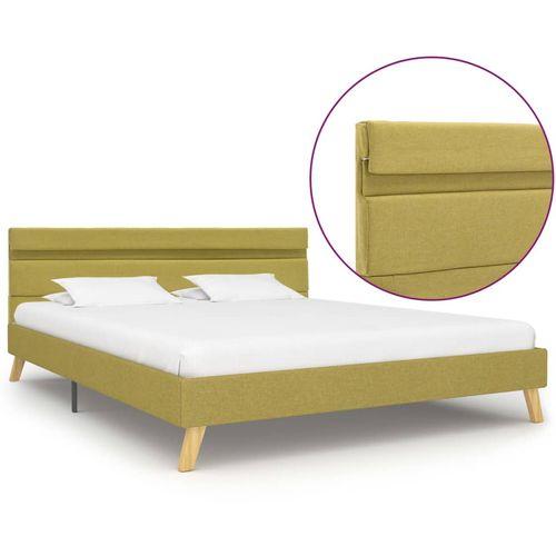 Okvir za krevet od tkanine s LED svjetlom zeleni 140 x 200 cm slika 1