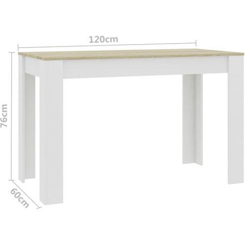 Blagovaonski stol bijeli i boja hrasta 120 x 60 x 76 cm iverica slika 6