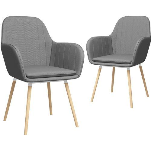 Blagovaonske stolice od tkanine 2 kom svjetlosive slika 1