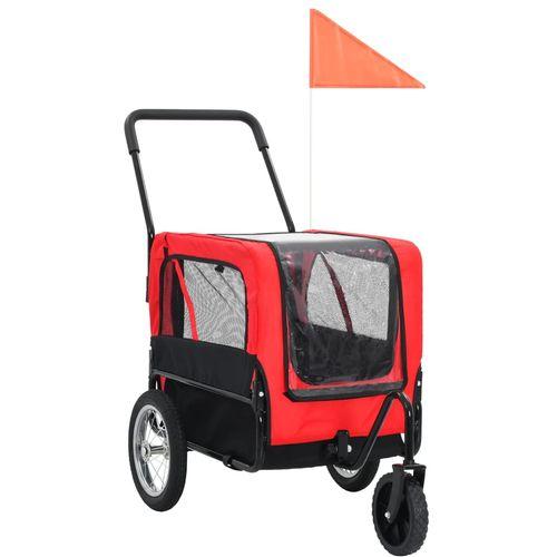 2-u-1 prikolica za bicikl i kolica za kućne ljubimce crveno-crna slika 1