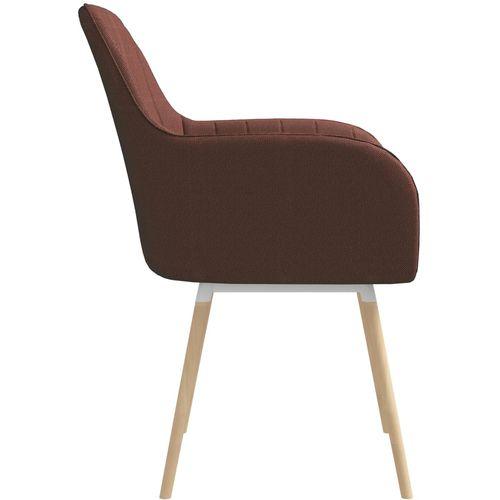 Blagovaonske stolice s naslonima za ruke 2 kom smeđe od tkanine slika 4