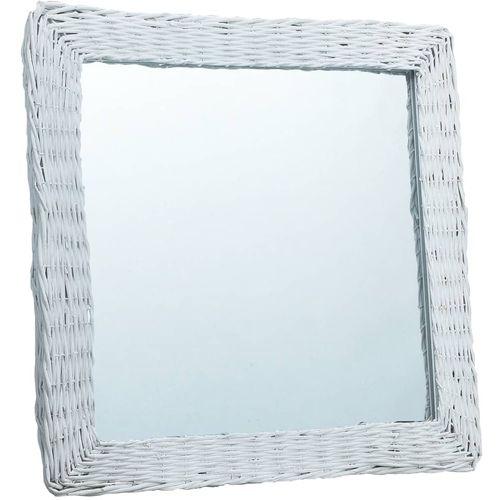 Ogledalo od pruća 50 x 50 cm bijelo slika 6