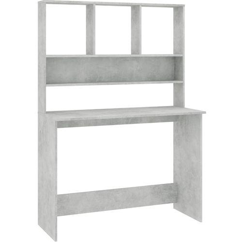 Radni stol s policama siva boja betona 110x45x157 cm iverica slika 2