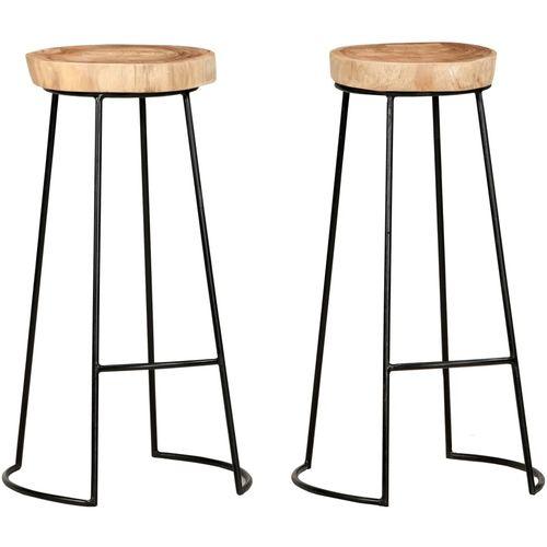 Barski stolci 2 kom od masivnog bagremovog drva slika 1