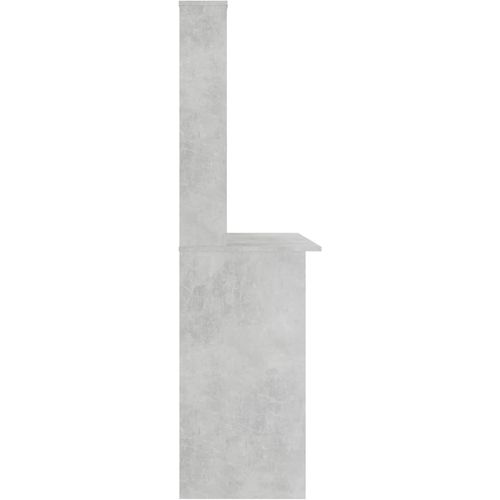 Radni stol s policama siva boja betona 110x45x157 cm iverica slika 5