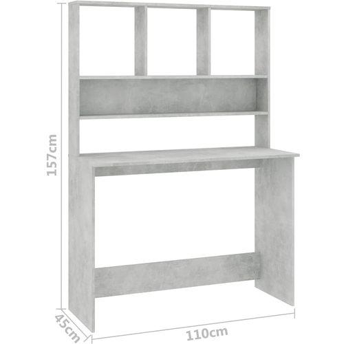 Radni stol s policama siva boja betona 110x45x157 cm iverica slika 6