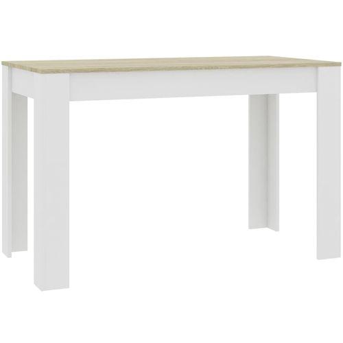 Blagovaonski stol bijeli i boja hrasta 120 x 60 x 76 cm iverica slika 2