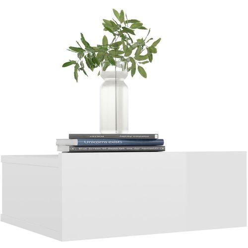 Viseći noćni ormarić visoki sjaj bijeli 40x30x15 cm od iverice slika 15