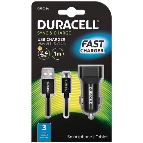 Duracell Autopunjač – Uni 1xUSB + MicroUSB cable 1m - 2.4A - Black slika 1