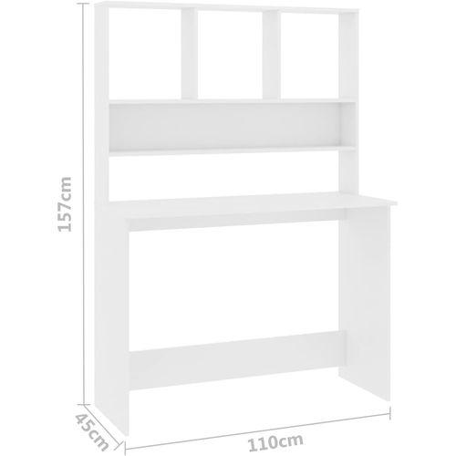 Radni stol s policama bijeli 110 x 45 x 157 cm od iverice slika 10