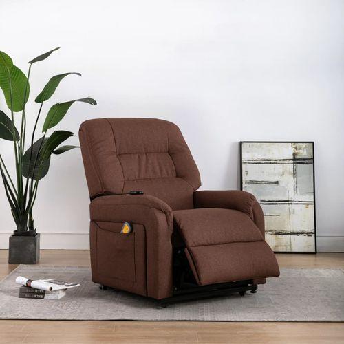 Električni masažni TV naslonjač na podizanje od tkanine smeđi slika 28