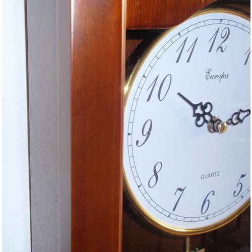 Zidni quartz sat sa klatnom 9980 - puno drvo slika 2