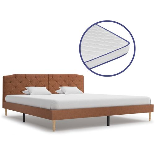 Krevet od tkanine s memorijskim madracem smeđi 180 x 200 cm slika 1