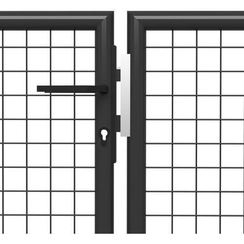Vrtna vrata čelična 400 x 175 cm antracit slika 4