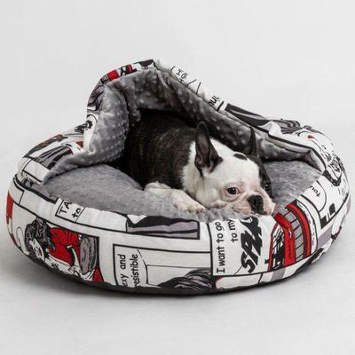 Hudog krevet krug s pokrivačem za ljubimce izuzetno je udoban i mekan, idealan za pse koji se vole uvlačiti. Gornji pokrivač pruža toplo skrovište za njegov odmor i spavanje.
