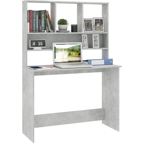 Radni stol s policama siva boja betona 110x45x157 cm iverica slika 3