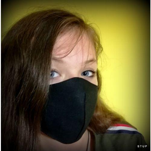 Dječja pamučna maska za lice - Kids 7-14  crna slika 1