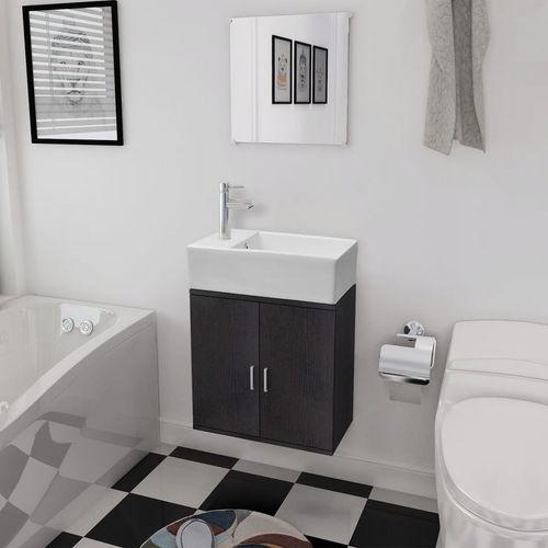 3-Dijelni Komplet Namještaja za Kupaonicu s Umivaonikom Crni  slika 11