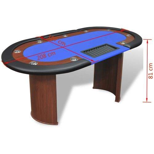 Stol za Poker za 10 Igrača s Prostorom za Djelitelja i Držačem Žetona Plavi  slika 19