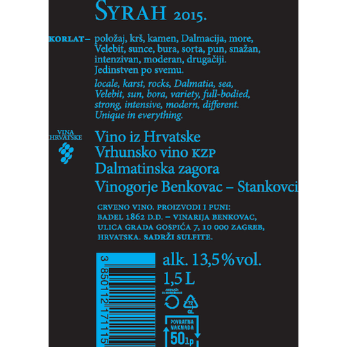 Korlat Syrah, 1,5L zaštićena oznaka izvornosti slika 3