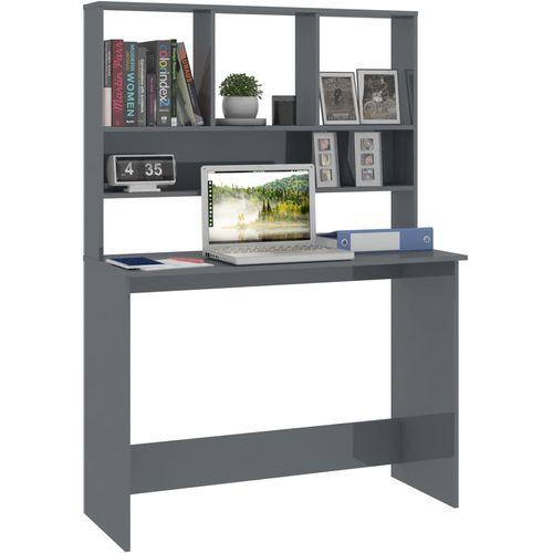 Radni stol s policama visoki sjaj sivi 110x45x157 cm iverica slika 3