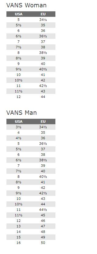 Tablica veličina za brand Vans