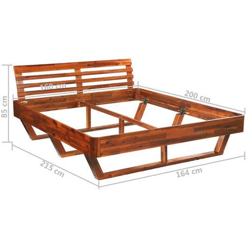 Okvir za krevet od masivnog bagremovog drva 160 x 200 cm slika 15