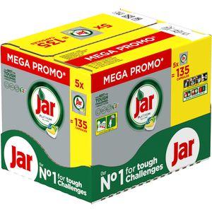 Jar Platinum All in One formula uspješno savladava i najzahtjevnije izazove čišćenja kako bi vaše posuđe bilo blistavo čisto.  Gigabox pakiranje sa 5 paketa po 27 kapsula. Ukupno 135 kapsula