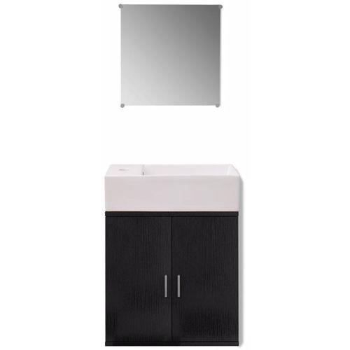 3-Dijelni Komplet Namještaja za Kupaonicu s Umivaonikom Crni  slika 13