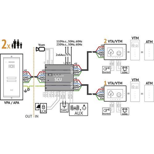 Bellcome VKA.P2FR.T7S9.BLB04 Video portafon za vrata Žičani Kompletan set 2 obiteljske kuće Crna slika 4
