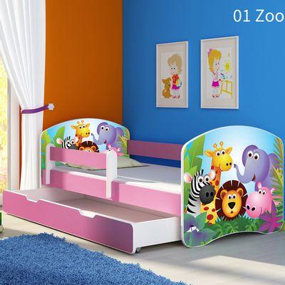 Krevet za djecu s dodatnom bočnom stranicom i ladicom – rozi 160×80    Uključen madrac debljine 7 cm i podnica.