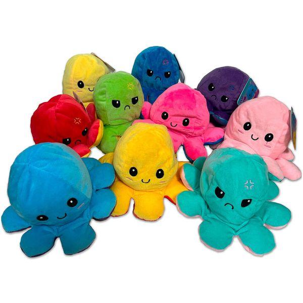 Plišana hobotnica s emocijama. Dimenzije: promjer 19 cm, visina 10 cm Igračka ima 2 lica, sretan i tužan. 1 igračka u paketu te nije moguće birati boju već se šalje ovisno o dostupnosti na skladištu prodavača.