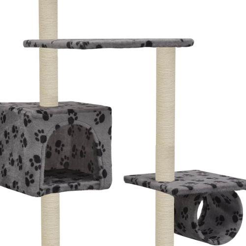 Penjalica za mačke sa stupovima za grebanje od sisala 260 cm siva s otiscima šapa  slika 4