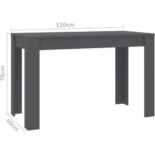 Blagovaonski stol sivi 120 x 60 x 76 cm od iverice slika 12