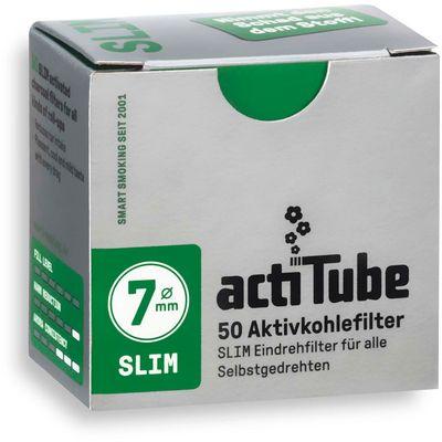 'actiTube' filteri SLIM s aktivnim ugljenom koji filtrira štetne tvari - 50 komada u pakiranju  SLIM verzija - idealna za motanje u king slim ili rolicu Promjer: 7mm