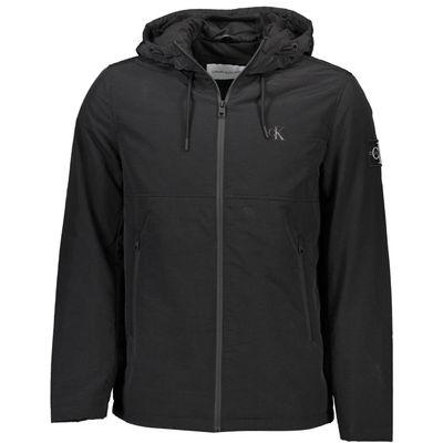long-sleeved jacket with hood, 2 external pockets, zip, logo