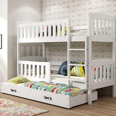Dječji krevet KUBUS je odlično rješenje za sve one koji cijene funkcionalnost, moderan dizajn, preciznost i kvalitetu izrade. Stabilna konstrukcija daje garanciju sigurnosti i udobnosti za vaše dijete. Cijela konstrukcija kreveta izrađena je od punog borovog drva. Krevet je dvostrani što znači da se može postaviti na lijevu ili na desnu stranu, ovisno o potrebi. Svi rubovi kreveta su zaobljeni kako bi osigurali sigurno korištenje za najmlađe. Ljestve se mogu postaviti na lijevu ili desnu stranu. Po potrebi se kreveti na kat mogu razdvojiti kako bi bila dva odvojena kreveta. Na dnu kreveta se nalazi prostrana i lako dostupna ladica na kotačima.