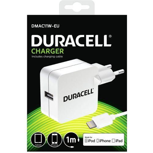 Duracell Punjač – Uni 1xUSB + Lightning cable – 2.4A - White  slika 1
