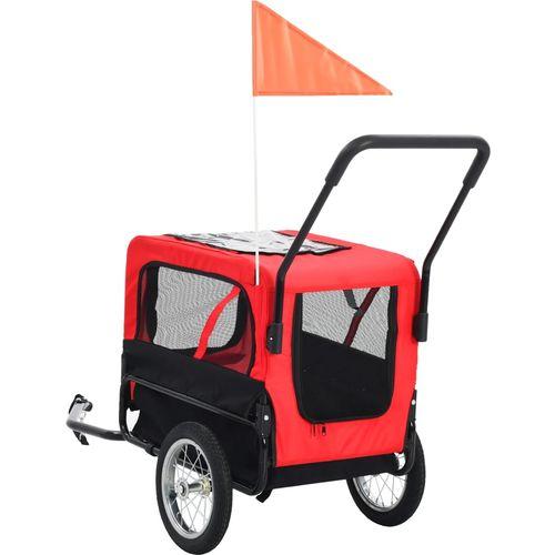 2-u-1 prikolica za bicikl i kolica za kućne ljubimce crveno-crna slika 4