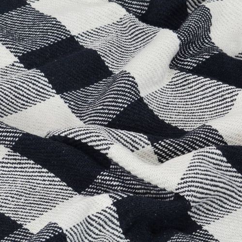 Pamučni pokrivač karirani 220 x 250 cm mornarsko plavi slika 3