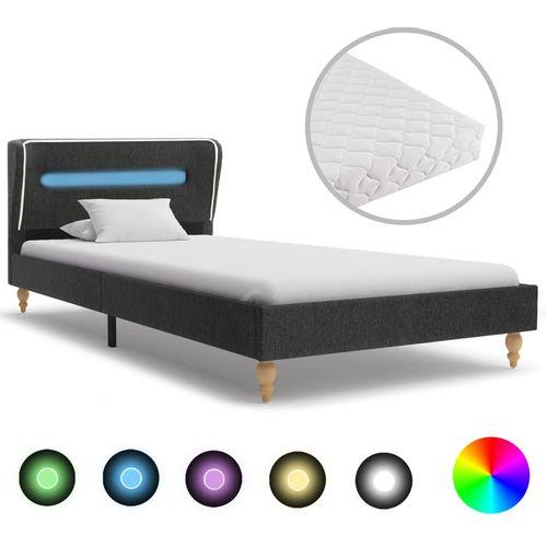 Krevet od jute s LED svjetlom i madracem tamnosivi 90 x 200 cm slika 1