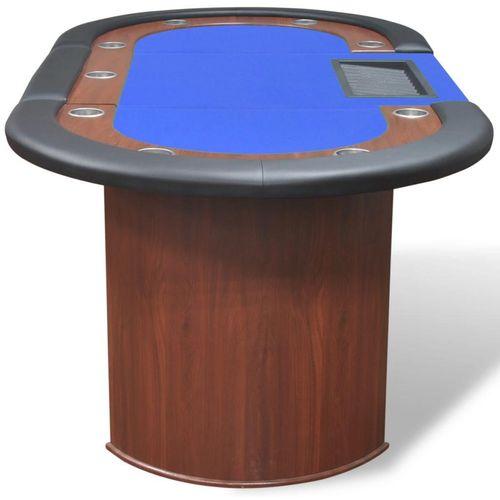 Stol za Poker za 10 Igrača s Prostorom za Djelitelja i Držačem Žetona Plavi  slika 6