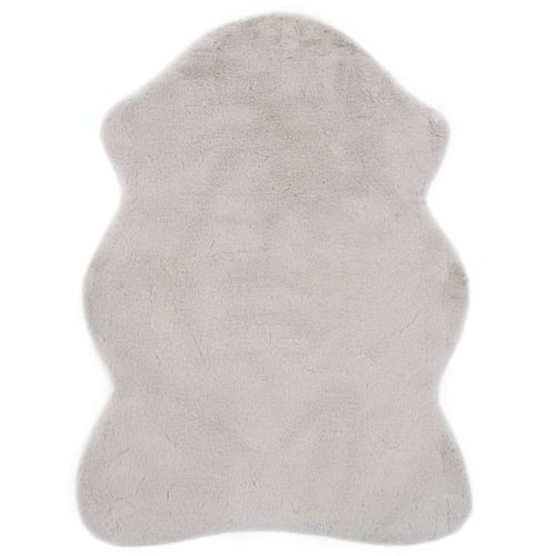 Tepih od umjetnog zečjeg krzna 65 x 95 cm sivi slika 1