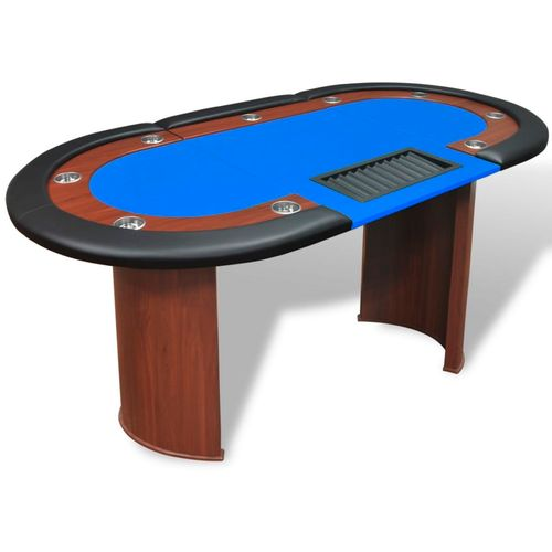 Stol za Poker za 10 Igrača s Prostorom za Djelitelja i Držačem Žetona Plavi  slika 22
