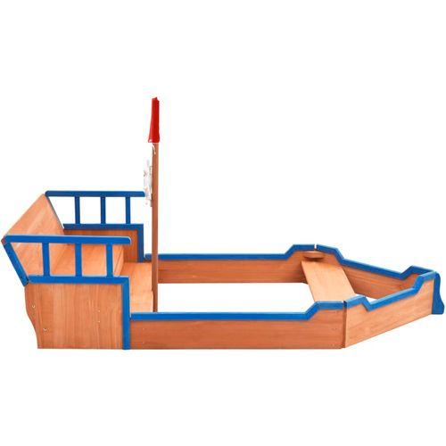 Pješčanik u obliku gusarskog broda od jelovine 190x94,5x136 cm slika 24