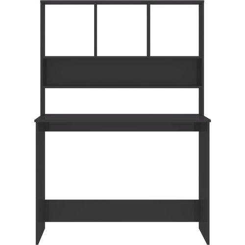 Radni stol s policama visoki sjaj sivi 110x45x157 cm iverica slika 18